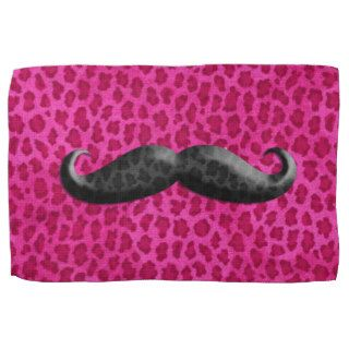 Hipster Girly Pink Cheetah Print And Mustache Towel