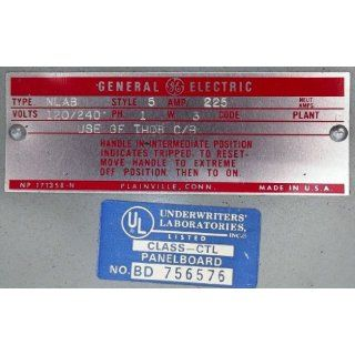 General Electric Panelboard Type NLAB 225AMP 120/240V 1PH 3W Electronic Components Industrial & Scientific