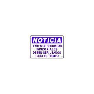 NOTICIA LENTES DE SEGURIDAD INDUSTRIALES DEBEN SER USADOS TODO EL TIEMPO 10x14 Heavy Duty Plastic Sign : Yard Signs : Patio, Lawn & Garden