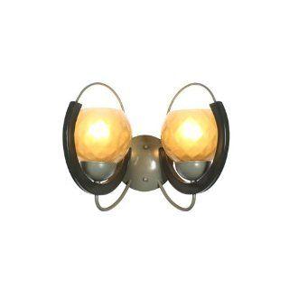 Varaluz Lighting 221B02YN Fonda   Two Light   Bath Light, Yesterday's News (Two Tone Gray) Finish with Frosted Bronze Iridescent Glass   Vanity Lighting Fixtures