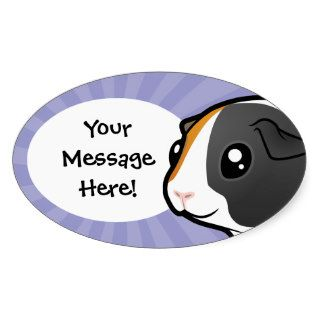 Cartoon Guinea Pig (smooth hair) Oval Stickers