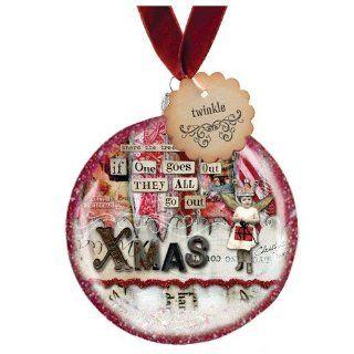 Santa Barbara Design Studio Sally Jean Holiday Glass Disc Ornament, Christmas Lights   Decorative Hanging Ornaments