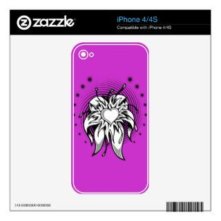 HEART FLOWER TATTOO GRAPHIC DIGITAL LOGO ICON LOVE SKINS FOR iPhone 4S