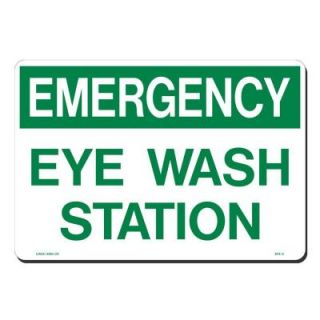 Lynch Sign 14 in. x 10 in. Green on White Plastic Emergency Eye Wash Station Sign SFS   3
