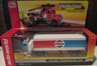 #SC264/48 1 Auto World Racing Rigs Retro Pepsi Peterbilt Model 359 & Trailer Electric Slot Racer