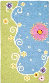 Safavieh Kids Collection SFK383A Handmade Blue and Green New Zealand Wool Area Rug, 4 Feet by 6 Feet