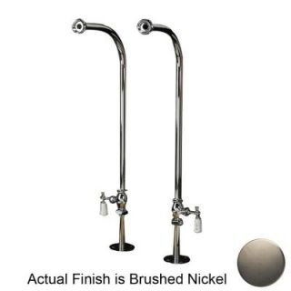 Pegasus 1/2 in. x 1/2 in. x 30 in. Satin Nickel Freestanding Tub Hot and Cold Supply Line Set 4502 PL SN