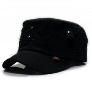City Hunter Ca360 Button Patch Cadet Military Cap (Black ): Clothing