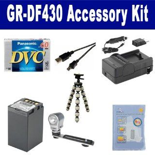 JVC GR DF430 Camcorder Accessory Kit includes ZELCKSG Care & Cleaning, GP 22 Tripod, DVTAPE Tape/ Media, SDBNVF733 Battery, SDM 115 Charger, USB5PIN USB Cable, ZE VLK18 On Camera Lighting  Digital Camera Accessory Kits  Camera & Photo