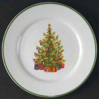 Christopher Radko Holiday Celebrations (Green Trim) Appetizer Plate, Fine China
