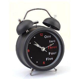 Generic Black Farm Vintage Metal Letter Twin Double Bell Desk Table Alarm Clock   Travel Alarm Clocks