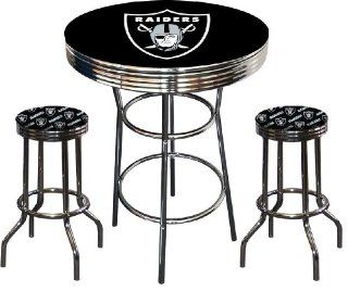 Oakland Raiders Logo NFL Football Chrome Bar Pub Table Set with 2 Swivel Bar Stools   Home Bars