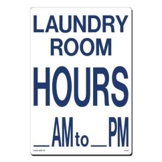 Lynch Sign 10 in. x 14 in. Blue on White Plastic Laundry Room Hours AM   PM Sign LP  23