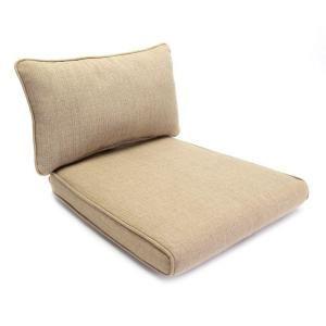 Hampton Bay Woodbury Textured Sand Replacement Outdoor Dining Chair Cushion and Pillow JY9127 D CUSH