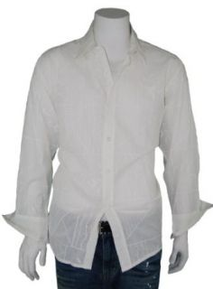Modern Men's Long Sleeve 100% Cotton Shirt Embroidery Design G C603D 1 White Off White (Large) at  Men�s Clothing store