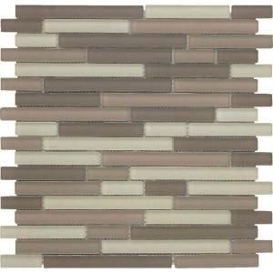 EPOCH Color Blends Arena Neblina Matte Strips Mosaic Glass Mesh Mounted Tile   4 in. x 4 in. Tile Sample DISCONTINUED ARENA NEBLINA SAMPLE