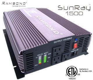 Ramsond SunRay 1500/3000 Watts W True Pure Sine Wave Power Inverter Generator (Remote Starter Ready) Back Up 12V DC to 115V 60Hz AC RV Truck Car Solar Off Grid ETL Listed to Conform to UL 458 STD  Solar Panels  Patio, Lawn & Garden