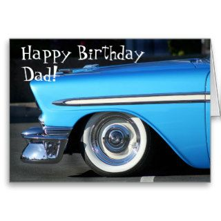 Happy Birthday Dad Classic car greeting card