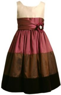 Bonnie Jean Girls 7 16 Colorblock Shantung Dress With Velvet Border, Brown, 7 Clothing