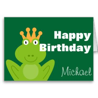 Pink Princess Frog Birthday Card