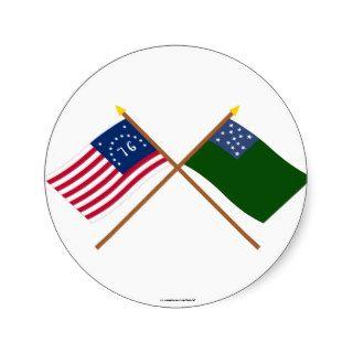 Crossed Bennington and Green Mountain Boys Flags Sticker