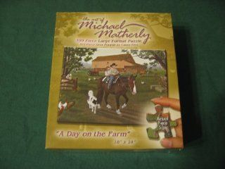 """The Art of Michael Matherly 300 Piece Large Format Puzzle """"A Day on the Farm"""" Toys & Games"""