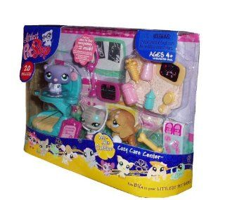 Littlest Pet Shop New Edition Cozy Care Center with Cuddliest Brown Saint Bernard (#481), Purple Ferret (#482) and Gray Cat (#483) Plus Lots of Accessories Toys & Games