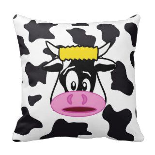 Funny Crazy Cow Bull on Dairy Cow Print Pattern Throw Pillows