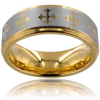 Tungsten Carbide Goldplated Cross Design Ring (8mm) Men's Rings
