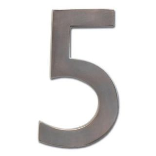 Architectural Mailboxes 4 in. Cast Brass Dark Aged Copper Floating House Number 5 3582DC 5