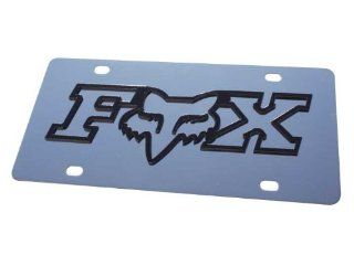 FOX RACING Logo Black Stainless Steel Metal Front Vanity License Plate #487: Automotive