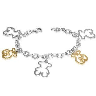 Stainless Steel 2 tone Cut out Teddy Bear Charm Link Chain Bracelet: Jewelry