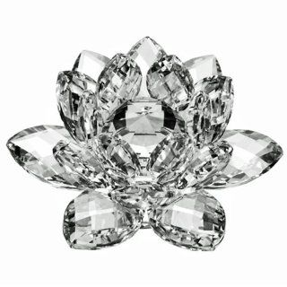 "3"" Amlong Crystal Clear Crystal Lotus Flower with Gift Box   Collectible Figurines"