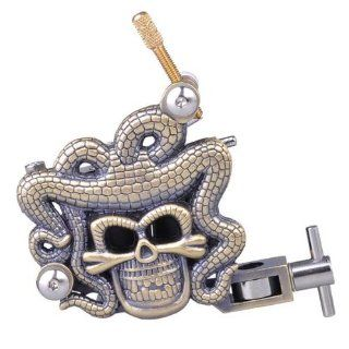 Copper Engraved Skull Head with Snake Dreads Tattoo Machine Gun   10 and 12 Coil Wrap (12 Coil Wrap): Health & Personal Care