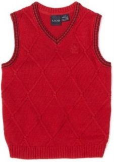 Izod Kids Boys 2 7 Cable Sweater Vest, Red, Small Clothing