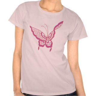 Modern elegant Art Nouveau butterfly rose Tee Shirts