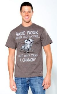 Snoopy Hard Work Mens Graphic T Shirt Peanuts (Small) Clothing