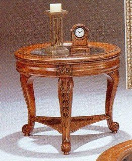 Hand Carved Wood w/Glass Top Round Occasional End Table