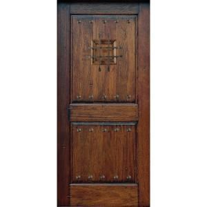 Main Door Rustic Mahogany Type Prefinished Distressed Solid Wood Speakeasy Entry Door Slab SH 902 RUSTIC