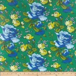 Amy Butler AlchemySketchbook Roses Fresh Green Laminated Fabric