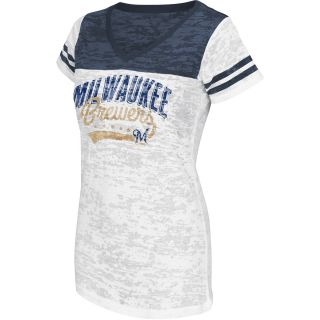 G III Womens Milwaukee Brewers Burnout Logo V Neck Short Sleeve T Shirt   Size:
