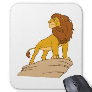 Lion King adult Simba standing proud on rock cliff Mouse Pads