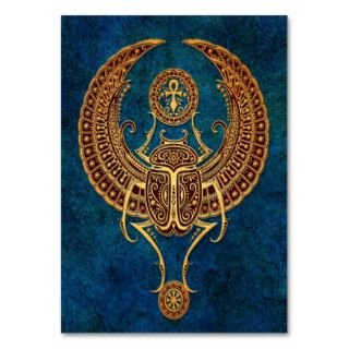 Winged Egyptian Scarab Beetle with Ankh   blue Business Card Template