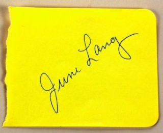 June Lang Autograph   Very Rare   Actress   Signed Autograph Page in Ballpoint Pen   Films: Captain January / Wee Willie Winkie   Collectible: June Lang: Entertainment Collectibles