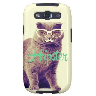 Turquoise Funny Cat Cute Hipster Glasses Mustache Galaxy SIII Case