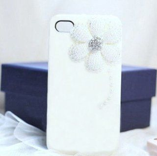 Crystal Pearl White 3D Daisy Flower Hard Back Case Cover for Apple iPhone 4 4S + Free Clear Front Screen and Back Film Protectors: Everything Else