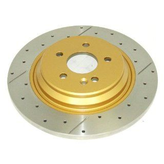 DBA DBA553X Street Series Gold Cross Drilled and Slotted Rear Solid Disc Brake Rotor: Automotive