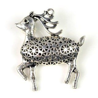 Cute Sika Deer Silver Alloy Pendant for Diy Pt 554: Beauty