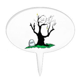 Gravestone dead tree big trunk cake topper