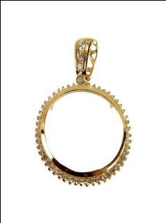 14k Yellow Gold, Coin Bezel Frame Pendant Charm for 20 Pesos Mexican Coin 33mm Wide: Jewelry